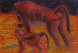 Baboons by Erica Shipley, Painting, Pastel