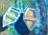 Beached Boats by Erica Shipley, Painting, Oil on canvas