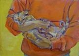 Cat-handled I by Erica Shipley, Painting, Oil on Board