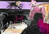 Dalarna Horse and Lapphund by Erica Shipley, Painting, Collage