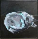 Oscar Sleeping by Erica Shipley, Painting, Oil on canvas