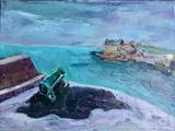 Porthleven Harbour Cannon by Erica Shipley, Painting, Oil on canvas