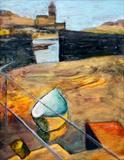 Yellow Boat, Porthleven by Erica Shipley, Painting, Oil on canvas